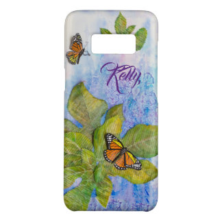 Personalized Phone Case with Butterfly & Leaves