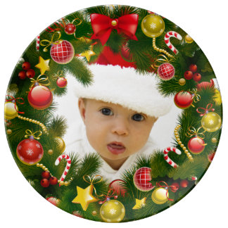 Personalized Photo Christmas Wreath Gift Plate Porcelain Plate