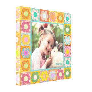 Personalized photo floral frame canvas print