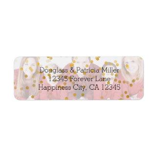 Personalized Photo Gold Confetti Overlay Return Address Label