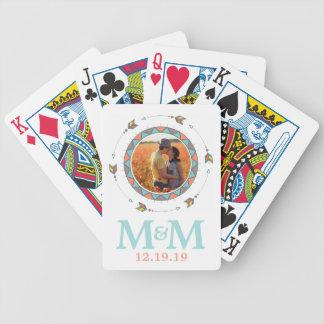 Personalized Photo Monogram Boho Wedding Bicycle Playing Cards