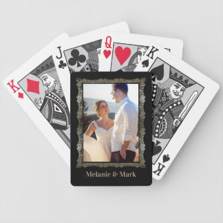 Personalized Photo Monogram Elegant Wedding Bicycle Playing Cards