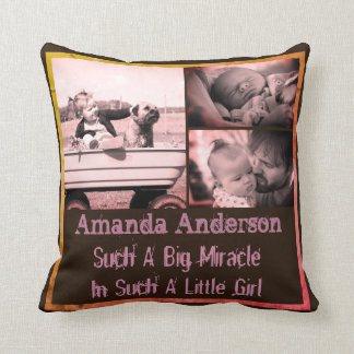 Personalized photo quote and name throw pillow