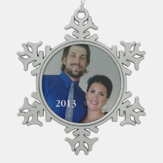 Personalized Photo Retro Garland Couple's Photo Snowflake Pewter Christmas Ornament