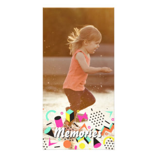 Personalized photo sticker happy memories overlay photo greeting card
