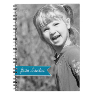 Personalized Photo Teal Blue Banner Custom Name Notebooks