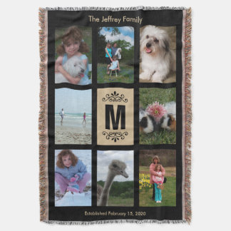 Personalized Photo Throw Blanket - Black / Tan