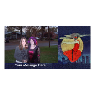 Personalized Photo Vintage Witch Woman Floating Custom Photo Card