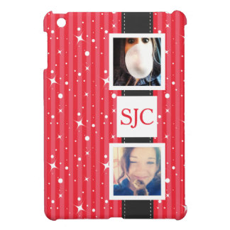 Personalized Photos and Initials Girly Stripes Cover For The iPad Mini