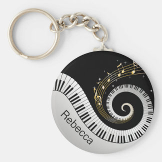 Personalized Piano Keys and Gold Music Notes Key Ring