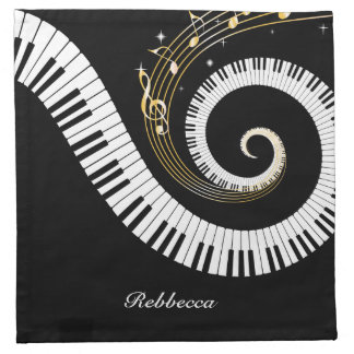 Personalized Piano Keys and Gold Music Notes Napkin