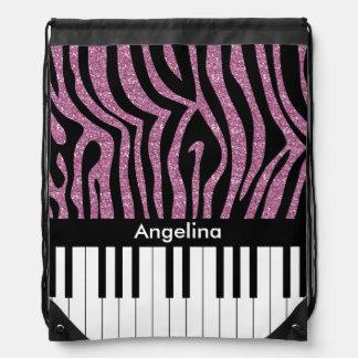 Personalized Piano Keys Pink Glitter Zebra Print Drawstring Bag