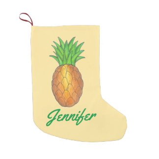 Personalized Pineapple Tropical Island Fruit Small Christmas Stocking