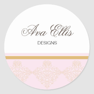 Personalized Pink Address Label Merchandise Seal Round Stickers