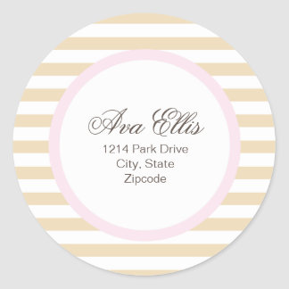 Personalized Pink Address Label/Merchandise Seal Classic Round Sticker