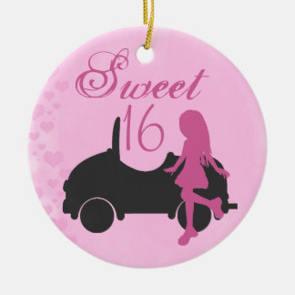 Personalized Pink and Black Car Sweet 16 Sixteen Round Ceramic Decoration