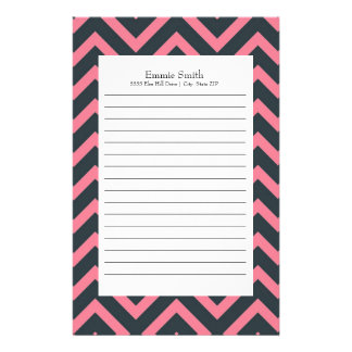 Personalized Pink and Black Chevron Pattern Stationery