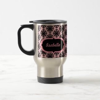 Personalized Pink and Black Damask Mug