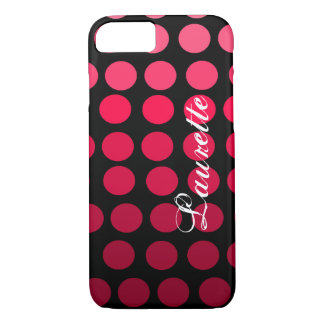 Personalized Pink and Black Polka Dot Gradient iPhone 7 Case