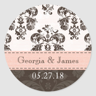 Personalized Pink and Brown Damask Wedding Seals Round Sticker