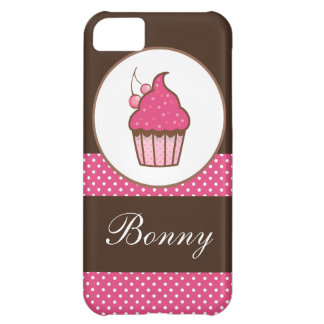 Personalized Pink And Brown Polka Dots Cupcake iPhone 5C Case