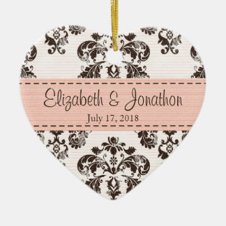 Personalized Pink and Brown Vintage Damask Wedding Ceramic Heart Decoration