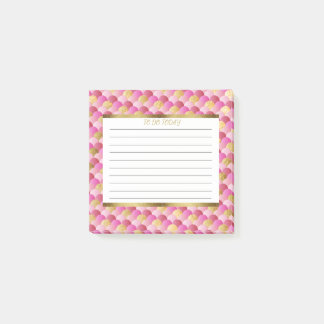 Personalized Pink and Gold Mermaid Scales 3x3 Post-it Notes