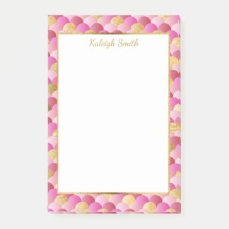 Personalized Pink and Gold Mermaid Scales Post-it Notes