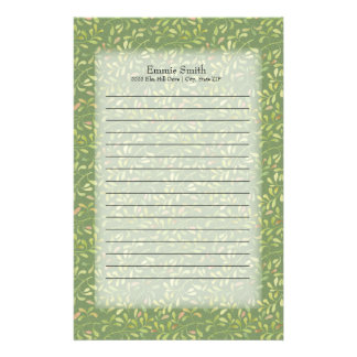 Personalized Pink and Green Leaves Stationery