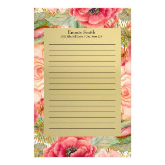 Personalized Pink and Red Floral and Gold Stationery