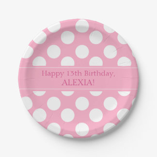 Personalized Pink and White Polka Dot Paper Plates