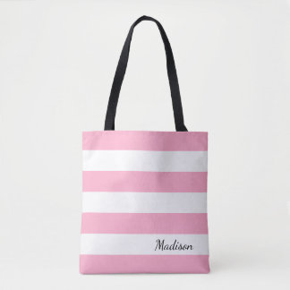 Personalized Pink and White Striped Tote