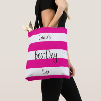 Personalized Pink and White Tote Bag