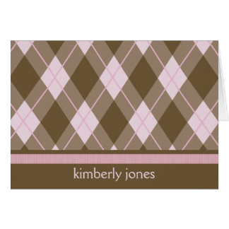 Personalized Pink Argyle Card