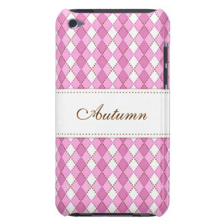 Personalized pink argyles iPod touch case
