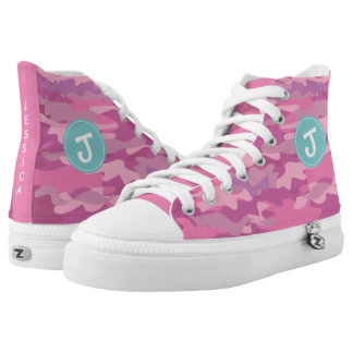 Personalized pink army camo girls high top shoes printed shoes