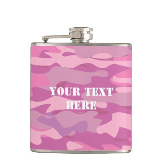 Personalized pink army Camouflage drink flask