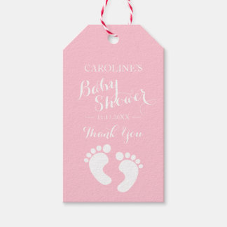 Personalized Pink Baby Feet Girl Baby Shower Gift Tags