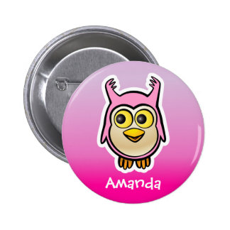 Personalized Pink Baby Owl Cartoon 6 Cm Round Badge