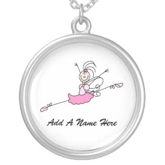 Personalized Pink Ballerina Necklace