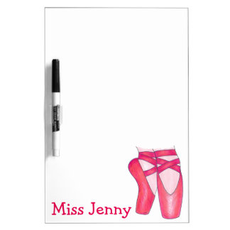 Personalized Pink Ballet Pointe Dance Teacher Gift Dry Erase Board