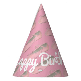 Personalized Pink Ballet Shoe Ballerina Birthday Party Hat