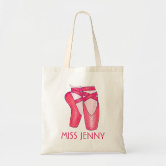 Personalized Pink Ballet Shoe Dance Teacher Tote