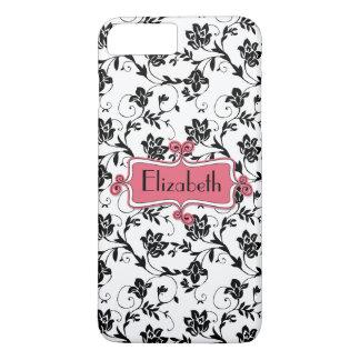 Personalized Pink Black Damask iPhone 8 Plus/7 Plus Case