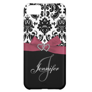Personalized Pink, Black Damask Pattern iPhone 5C Case