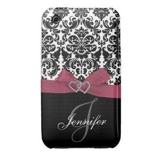 Personalized Pink, Black Ornate Damask Case iPhone 3 Case