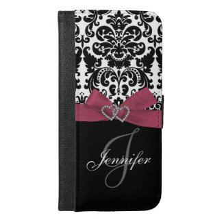 Personalized Pink, Black Ornate Damask Pattern iPhone 6/6s Plus Wallet Case
