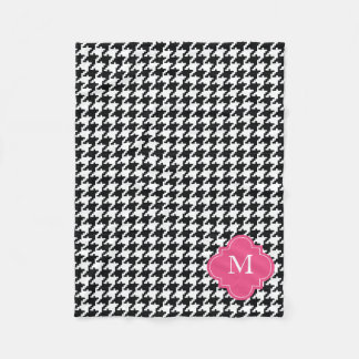 Personalized Pink Black White Houndstooth Pattern Fleece Blanket
