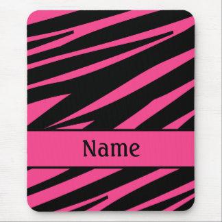 Personalized Pink Black Zebra Print Mousepad