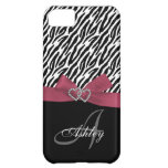 Personalized Pink, Black Zebra Stripes Case Case For iPhone 5C
